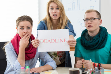 Young architects having very short deadline