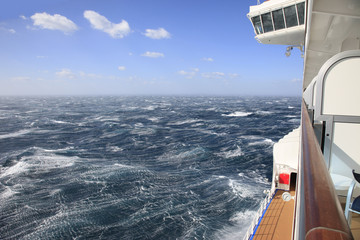 Rough Seas from a ships balcony