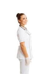 Side view female doctor laughing