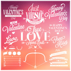 Set Of Happy Valentine's Day Hand Lettering
