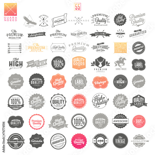Premium Quality Guarantee Vector Label set poster
