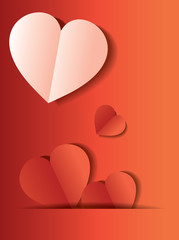 Red and white Heart Paper Sticker With Shadow Valentine's day ve