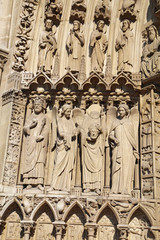 Statues to the left of the Portal of the Virgin, Notre Dame cath