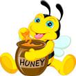 Obrazy na płótnie, fototapety, zdjęcia, fotoobrazy drukowane : funny bee cartoon with honey