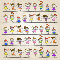 hand drawing cartoon kids playing