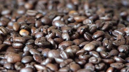 Roasted Coffee Beans in Movement