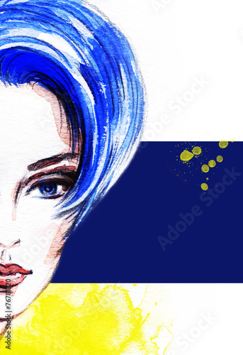 woman portrait  .abstract  watercolor .fashion background - 76781320