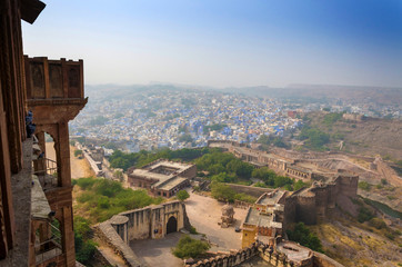 Jodhpur the in Rajasthan state in India. View from the Mehrangar