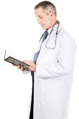 Male doctor reading notes