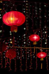 Red Chinese Lantern in the Dark