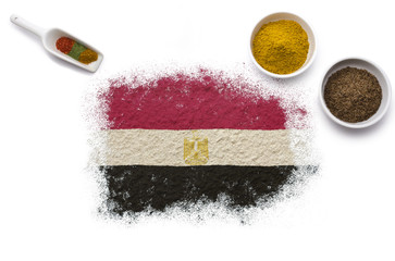 Spices forming the flag of Egypt.(series)
