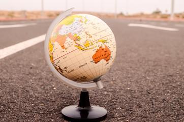 Globe Earth on an Asphalt Street