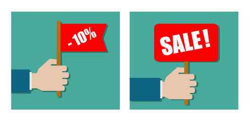 hand holding banner sale - flat icon