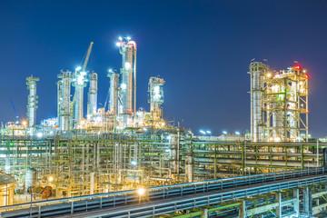 Beautiful twilight of refinery plant