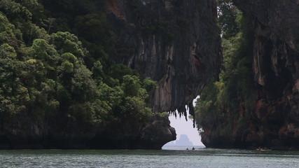 RAILAY,KRABI/THAILAND - OCTOBER 16 2014: people sail in kayak pa