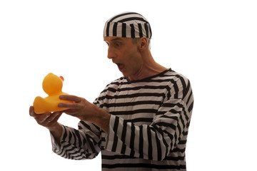 Caucasian man prisoner criminal with rubber duck