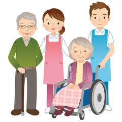 高齢者と介護士 シニア