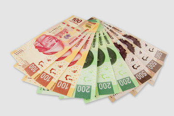 Set of Mexican peso bills.