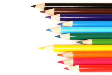 Coloring Pencils on White Background