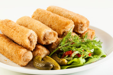 Delicious croquettes with meat and salad