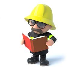 3d Fireman reads a book