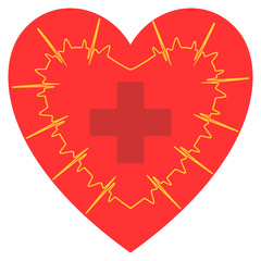 the electrocardiogram with a red cross on a heart sign