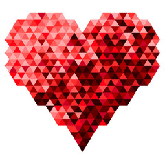 Heart Made Of The Triangle In Red Tone Color. Vector Illustratio