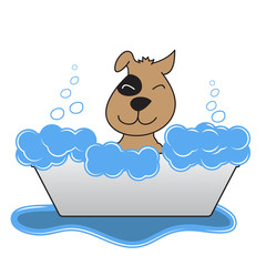 Happy Dog Takes A Bath. Vector Illustration