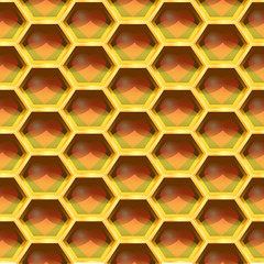 Seamless Geometric Pattern Of Heart In The Honeycomb. Vector Ill