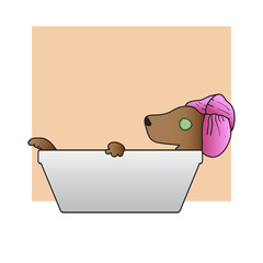 Relax Dog Takes A Bath. Vector Illustration