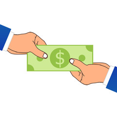 One Hand Giving A Money. Vector Illustration