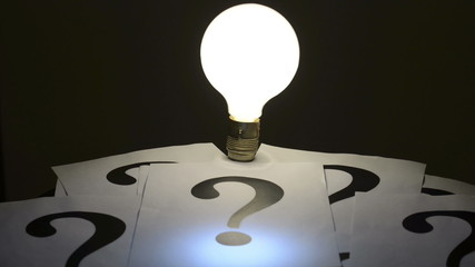 Light bulb question marks