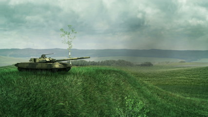 Army tank fires and recoils on a battlefield