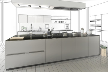 Stainless steel designed kitchen (project)