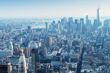 New York. Manhattan aerial skyline at dusk