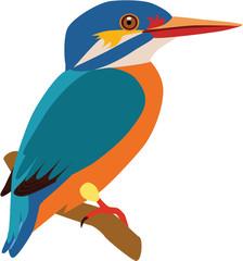 cute fat stork-billed kingfisher vector