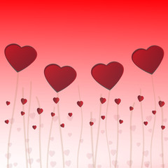 Red hearts concept on Valentine's day background.Vector EPS10.