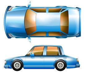 A blue sedan car