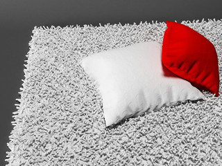 two pillows on the carpet