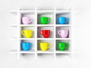colored cups on the shelves