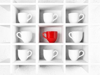 many white cups and a red cup on the shelf,