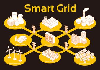 Smart Grid image, vector
