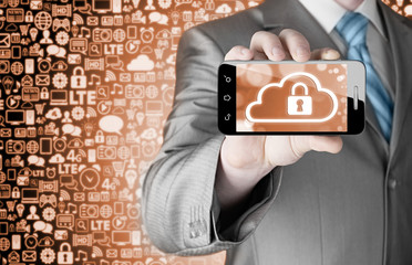 Man holds smart phone with cloud security concept on white