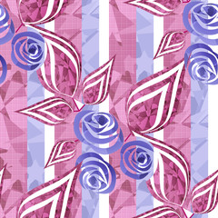 Flowers retro modern abstract seamless pattern texture on stripe