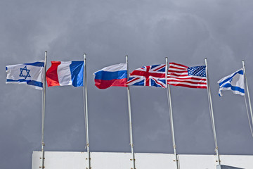 Flags in the wind. America, Britain, Israel, Russia, France.