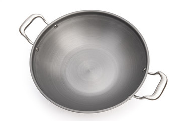 top view wok on white background