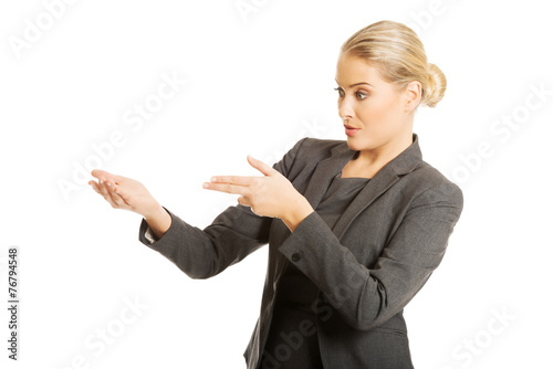 canvas print picture Business woman showing copy space