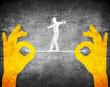 orange hands and tightrope walker - 76795731