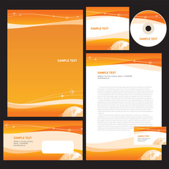 Professional corporate identity layout design template airplane