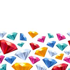 Seamless horizontal gemstones pattern on white.